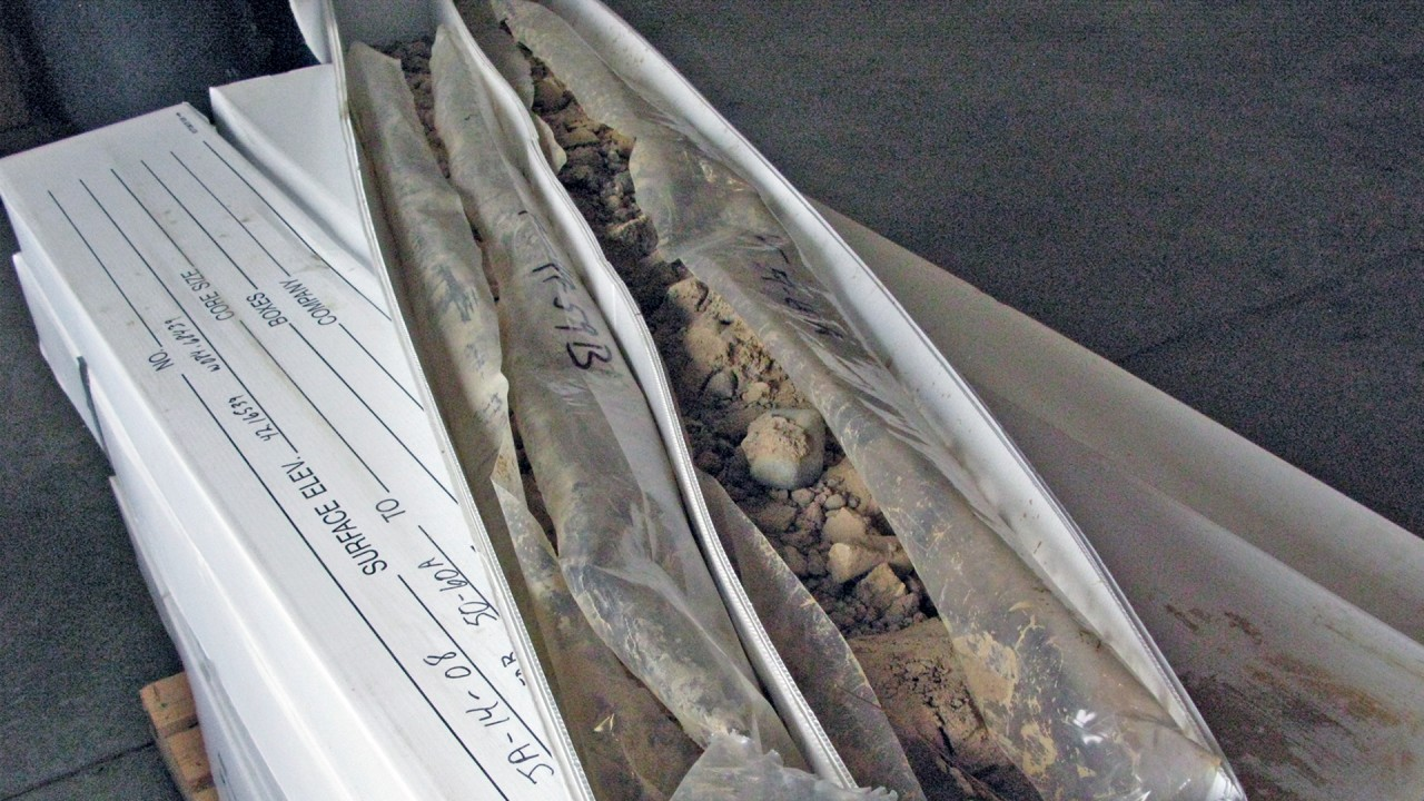 Preserved glacial cores in a box