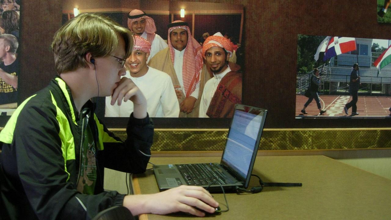 student using wireless in the Bernhard Center