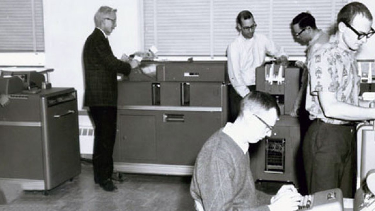 Photo of WMU computing facility in the 1960s
