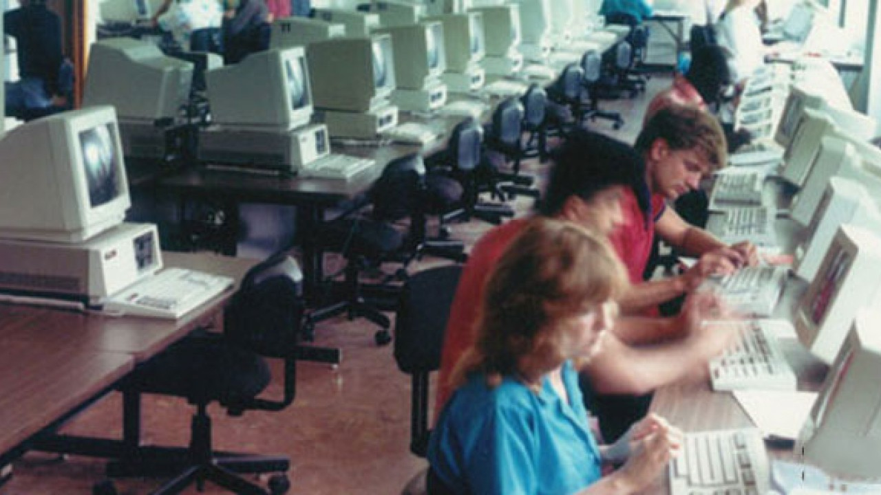 Photo of the Maybee Hall computer lab in the 1980s
