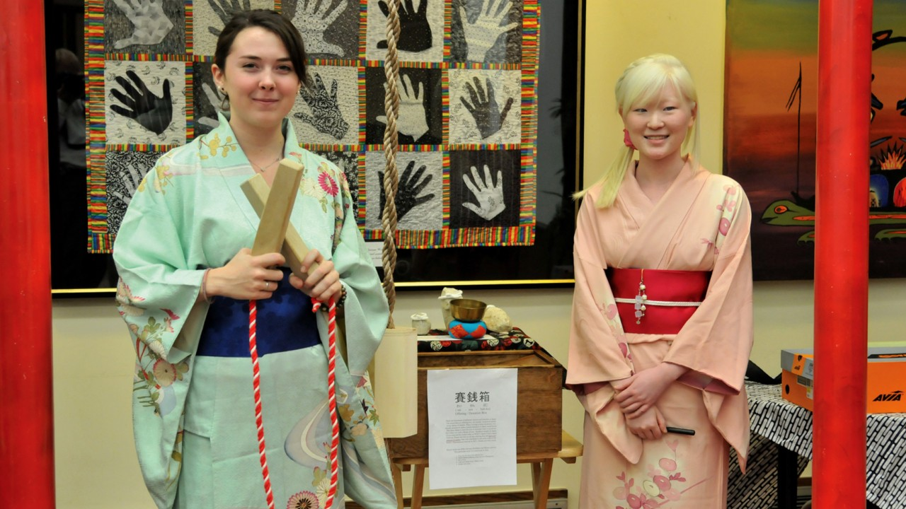 Two students at WMU's Japan Festival.