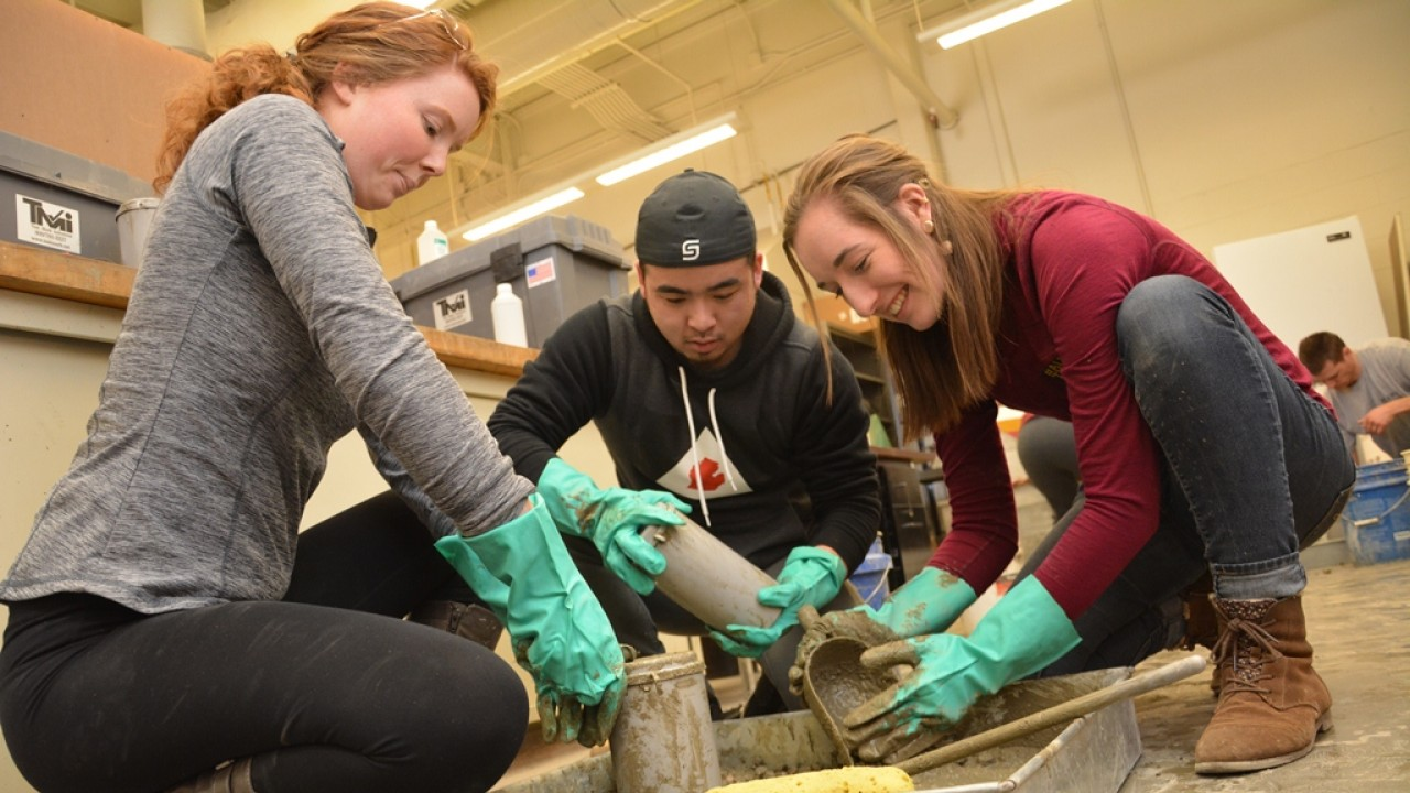 WMU engineering students making cement