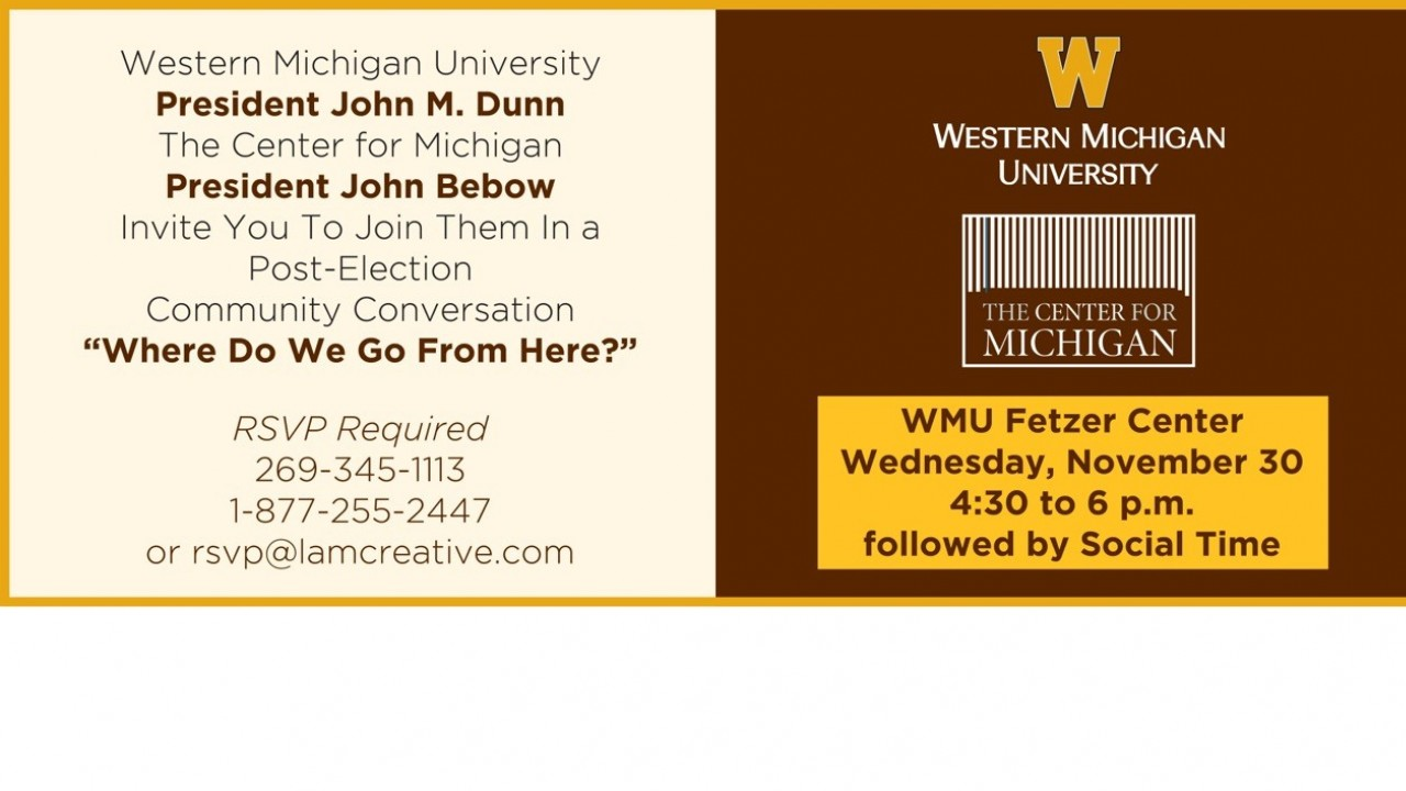 The Center for Michigan November 30 event postcard