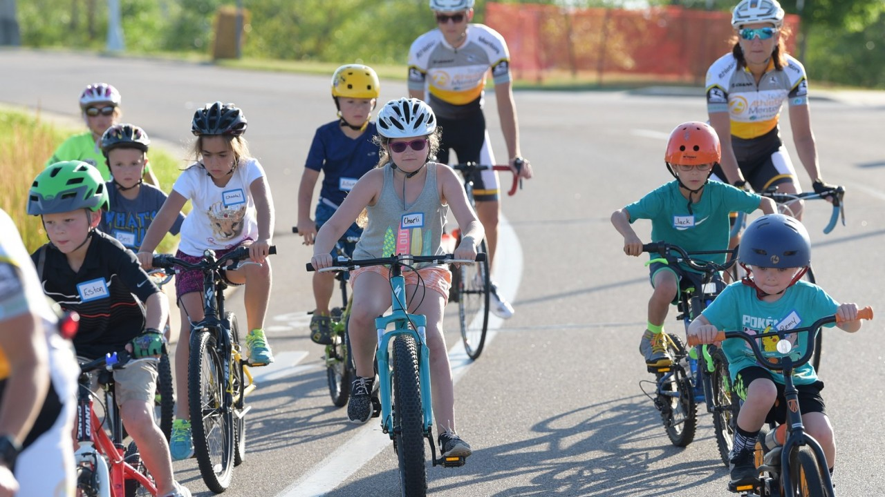Kids racing on bikes