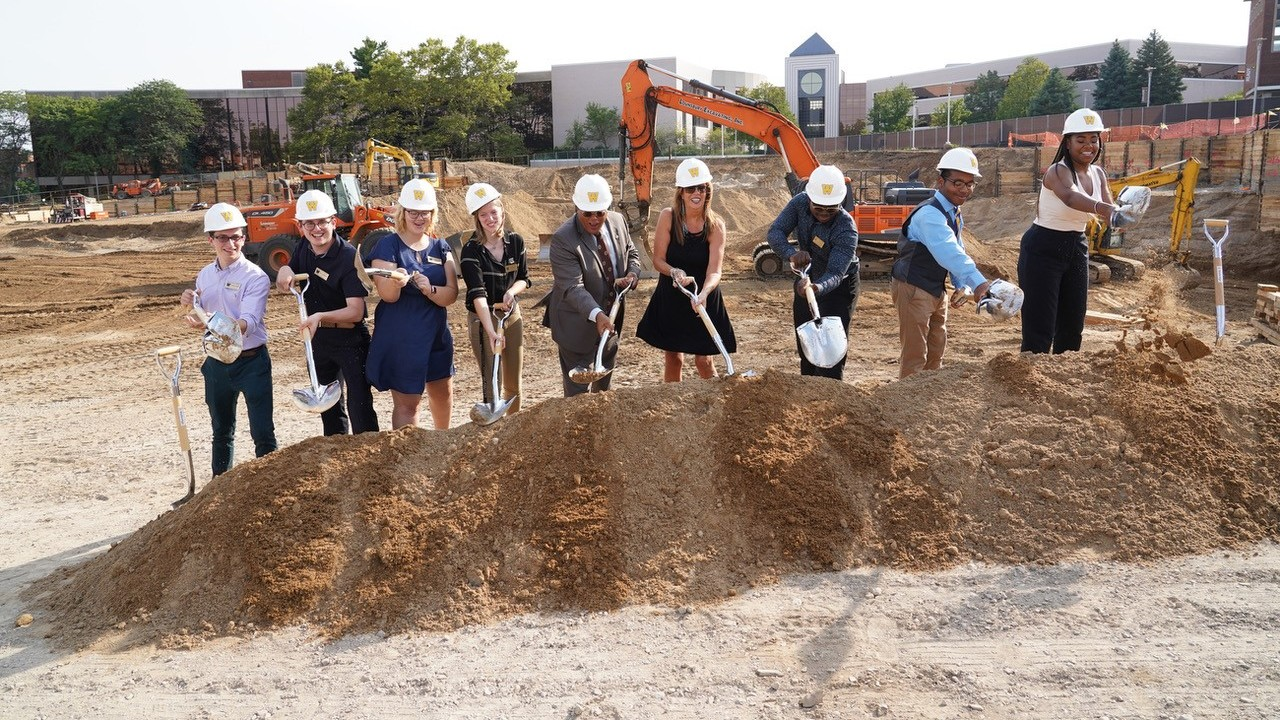 WMU representatives breaking ground on student center