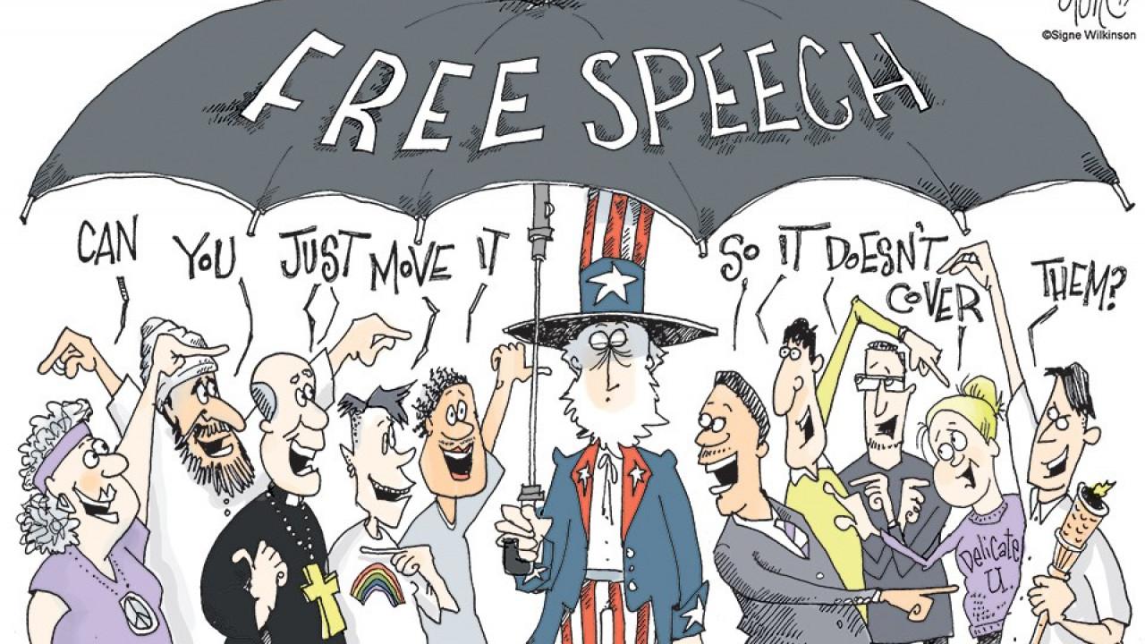 Free Speech cartoon with Uncle Sam