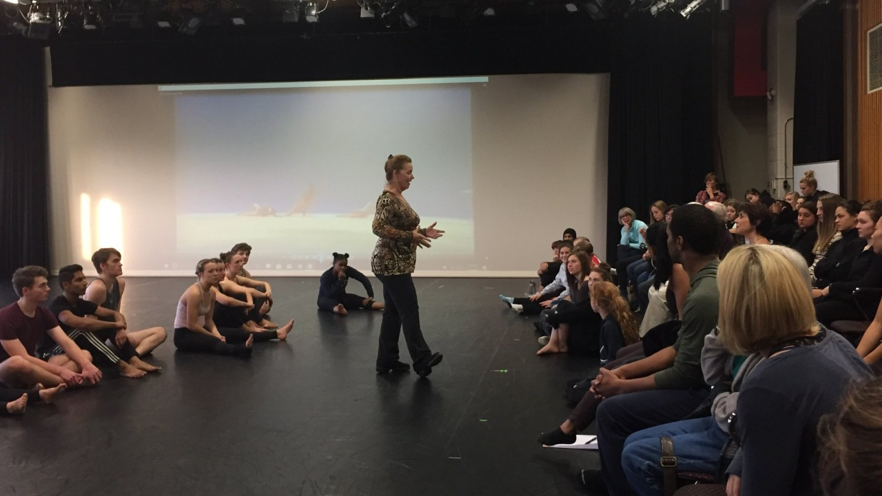 Ruth Andrien, from Taylor 2, discusses the work of Paul Taylor in an open rehearsal