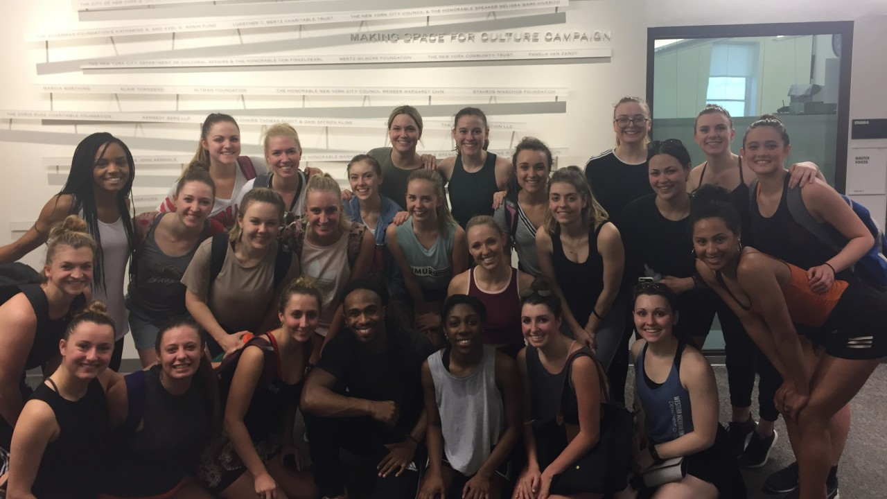 Group photo with Quilan Arnold after his hip hop masterclass.