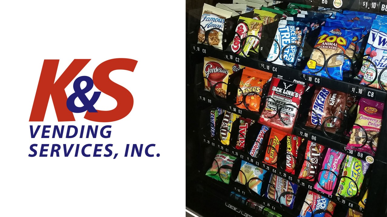 K&S Vending logo and image of vending machine.