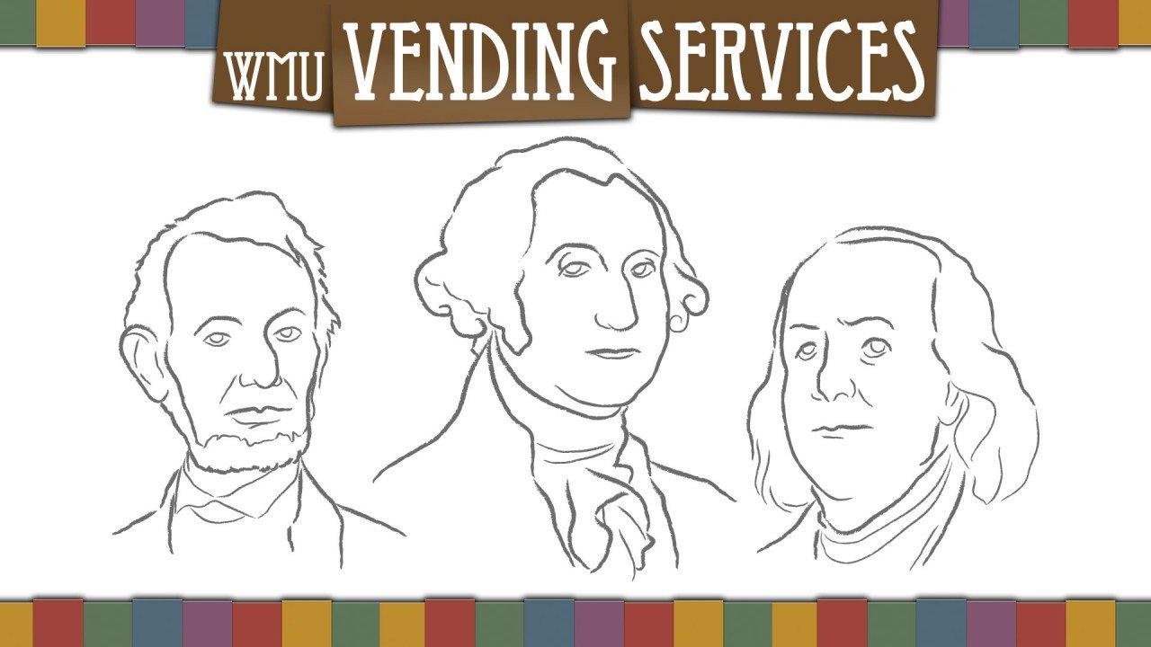 WMU Vending Services logo with president graphics.