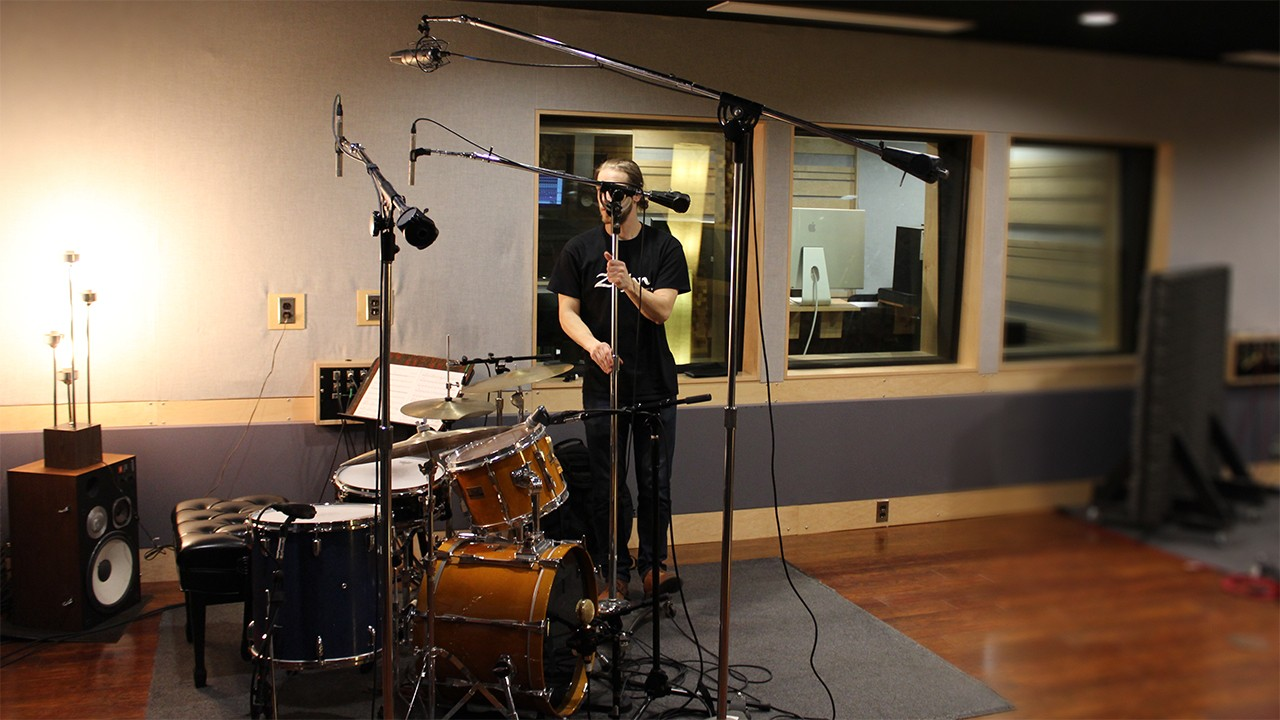 a drumset in Western Sound Studios