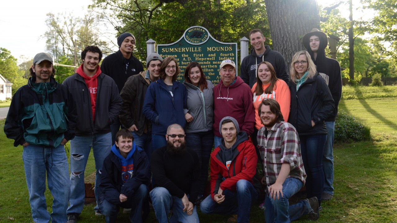 FSJ staff in 2015 posing for a picture in front of the Sumnerville Mounds marker