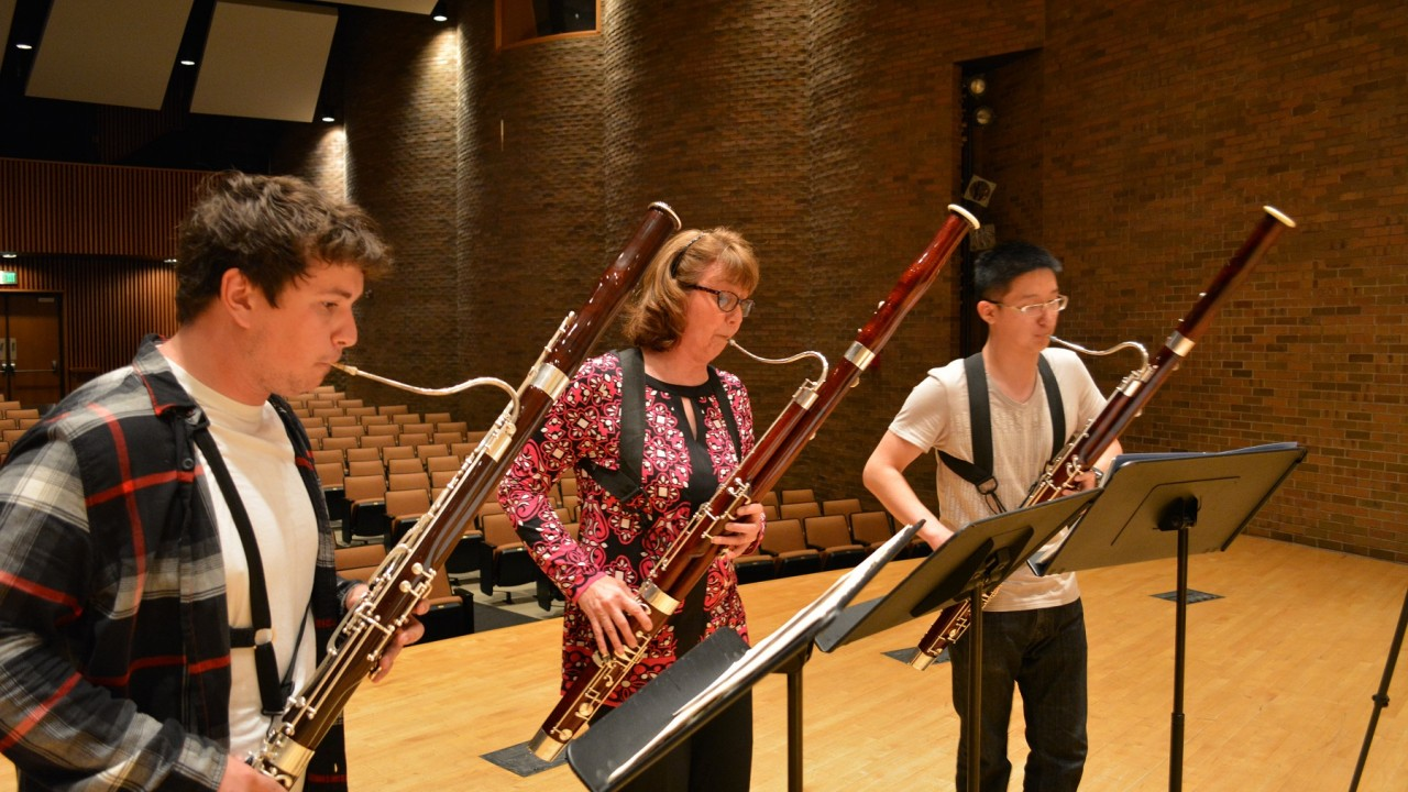 Students playing bassoons