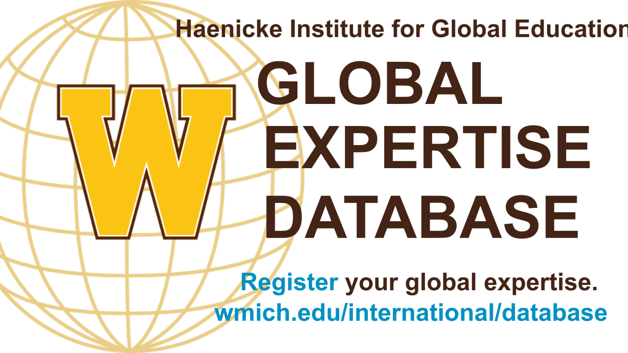 """Decorative: Globe with text """"Haenicke Institute for Global Education's Global Expertise Database"""""""