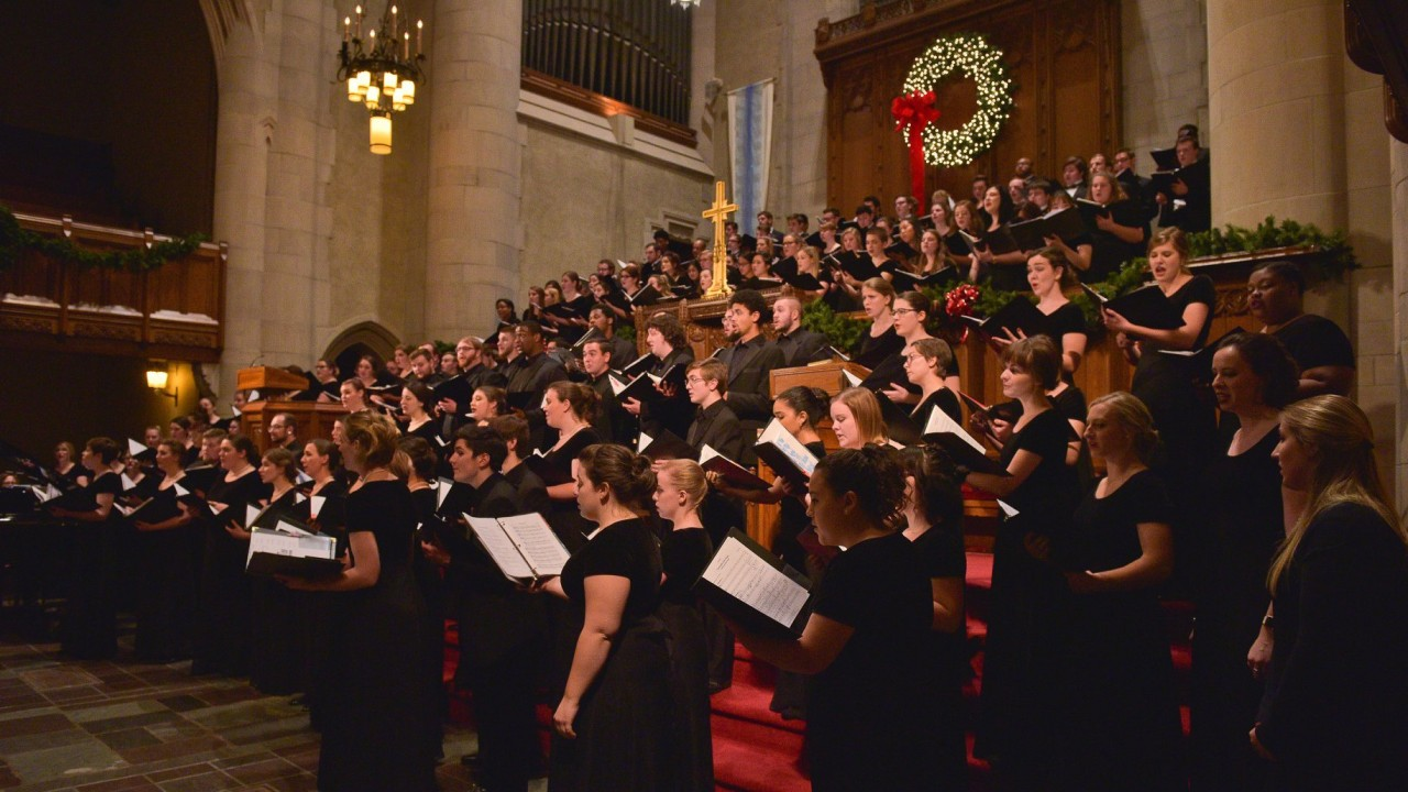 choir in a large church singing