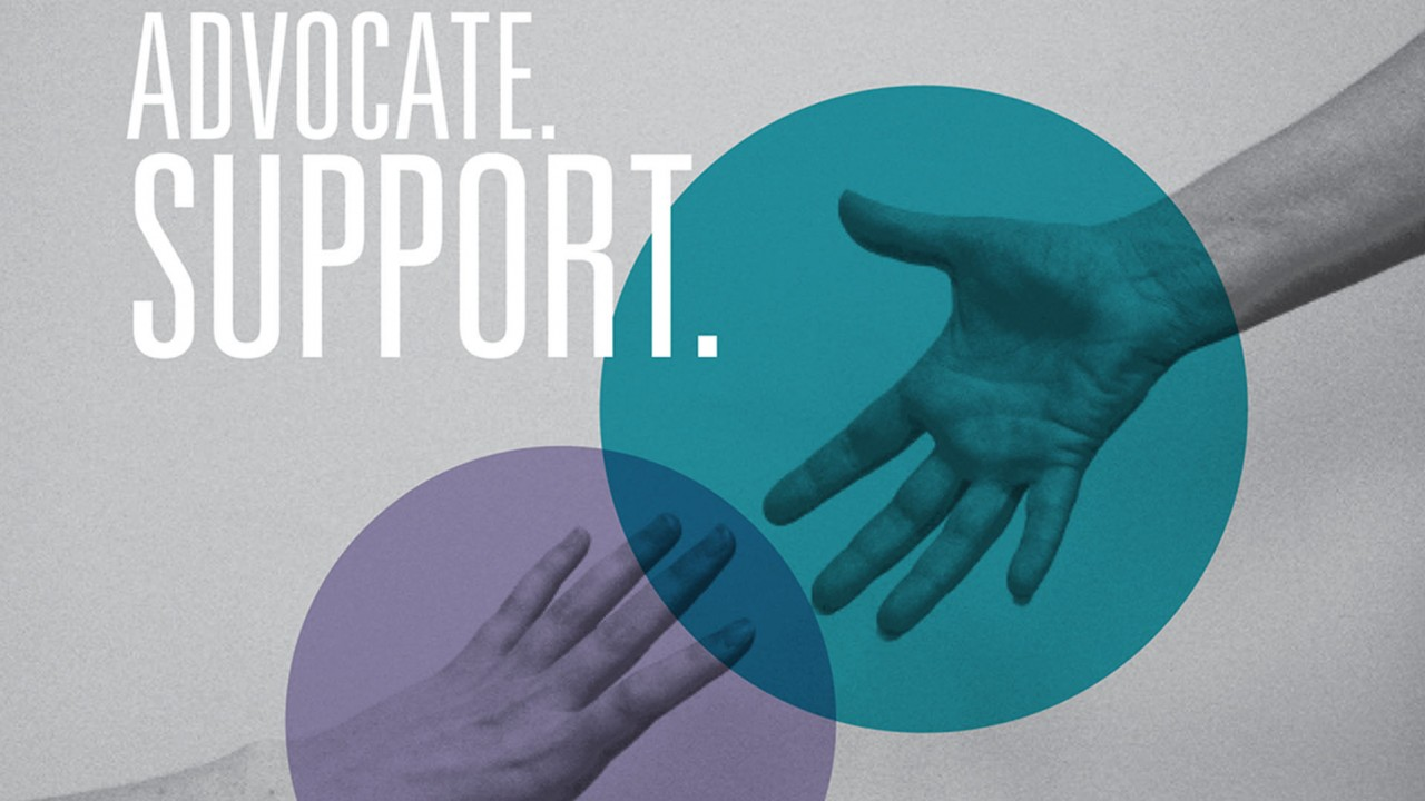 Advocate. Support. Photo of hands reaching.