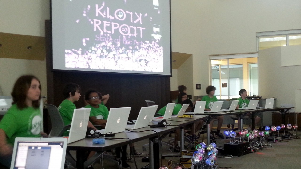 Students performing with KLOrK - the Kalamazoo Laptop Orchestra.
