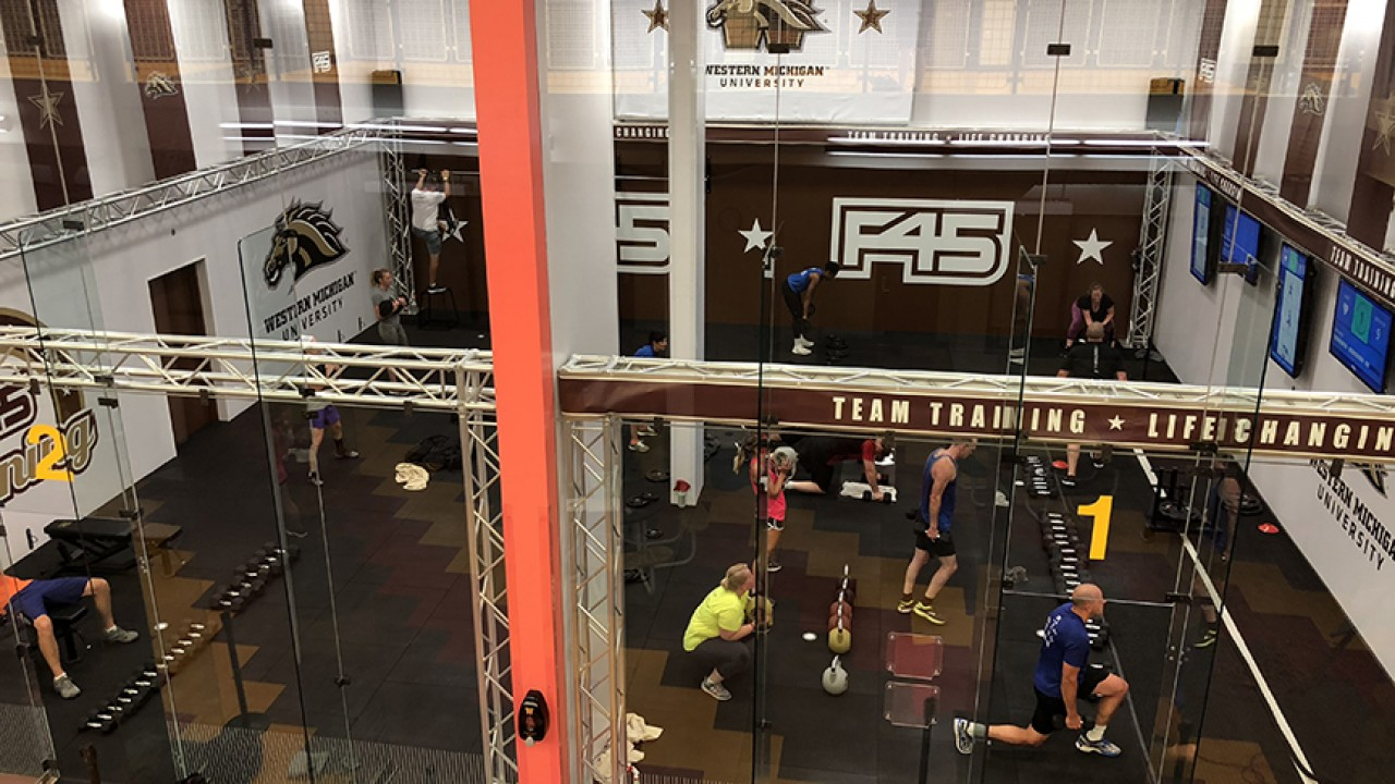 F45 studio expansion image of participants working out in a class