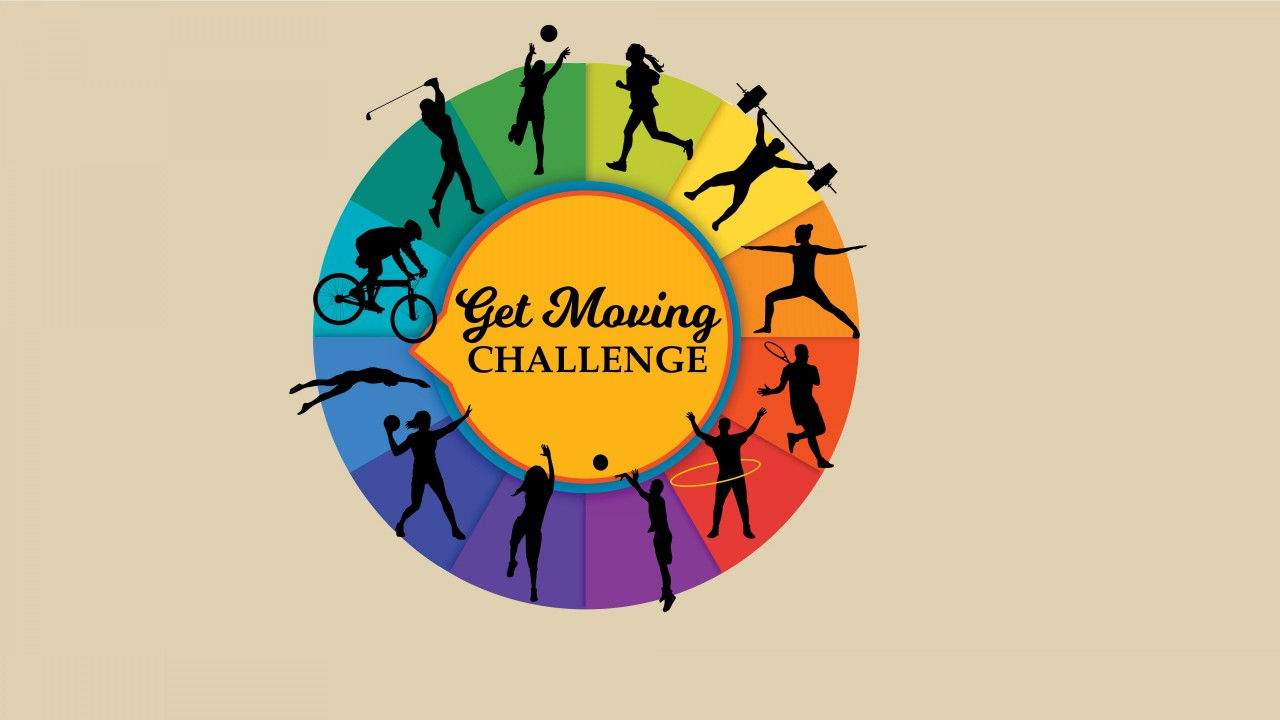 A wheel of colors that have silhouettes in each color with people doing physical activity and the words Get Moving Challenge in the center