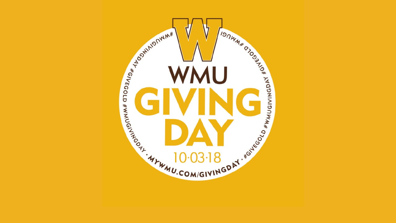 The official WMU Giving day logo identity that's on Oct. 3, 2018. Has the official W in a circle.