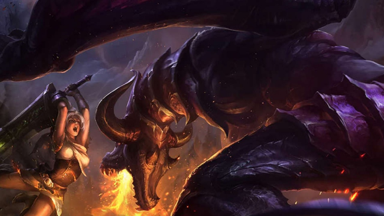 League of Legends image of a warrior princess fighting a dragon
