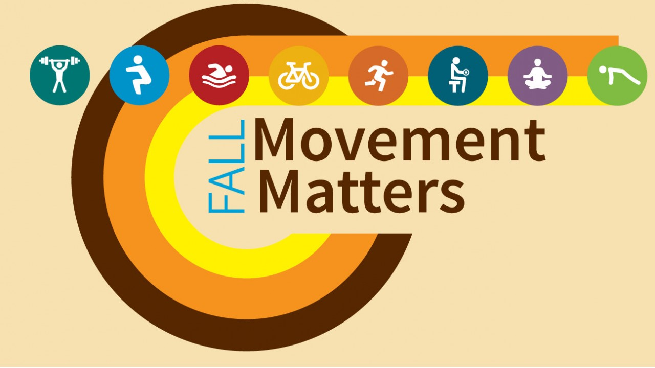 Fall Movement Matters logo with words and icons of people moving and exercising