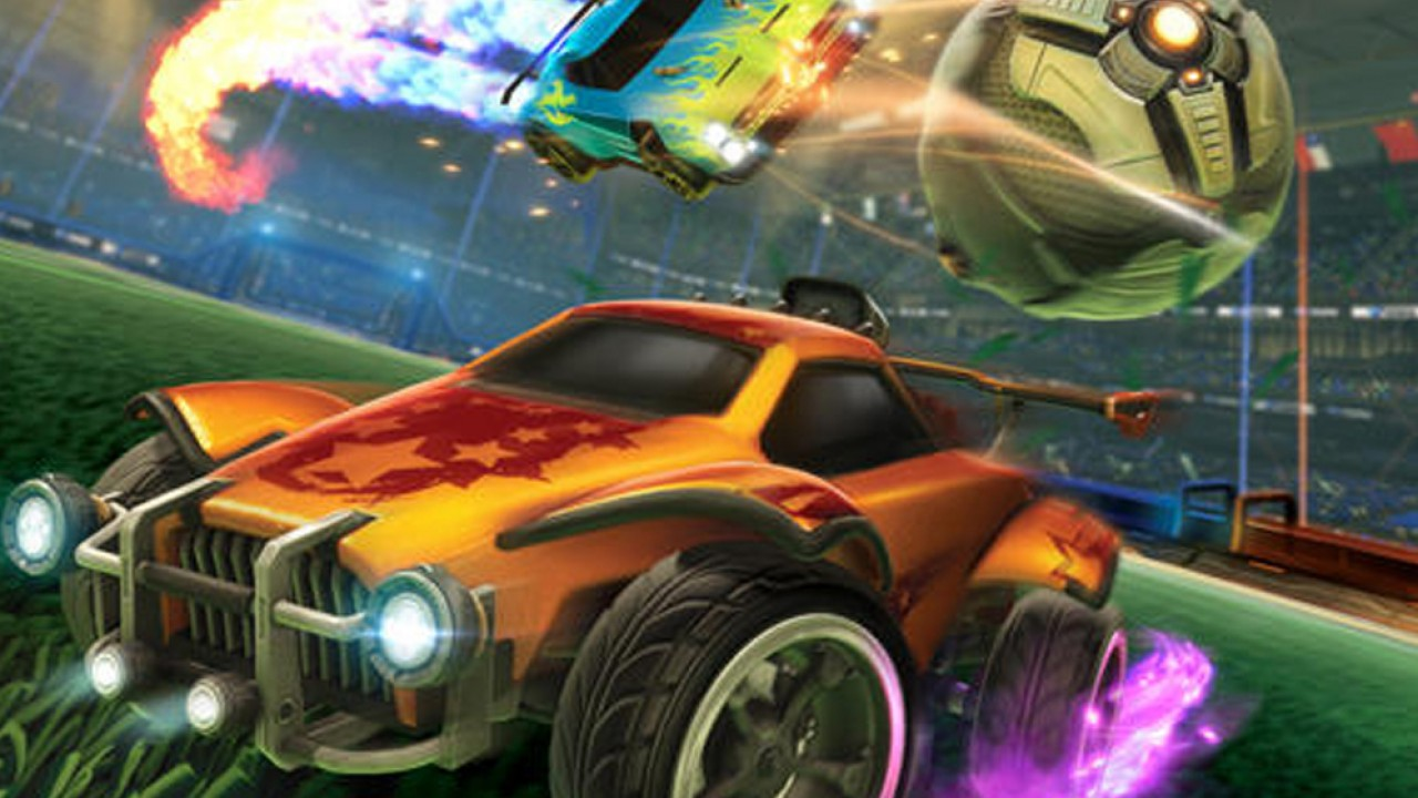 Rocket League graphic of drag racing cars in a stadium