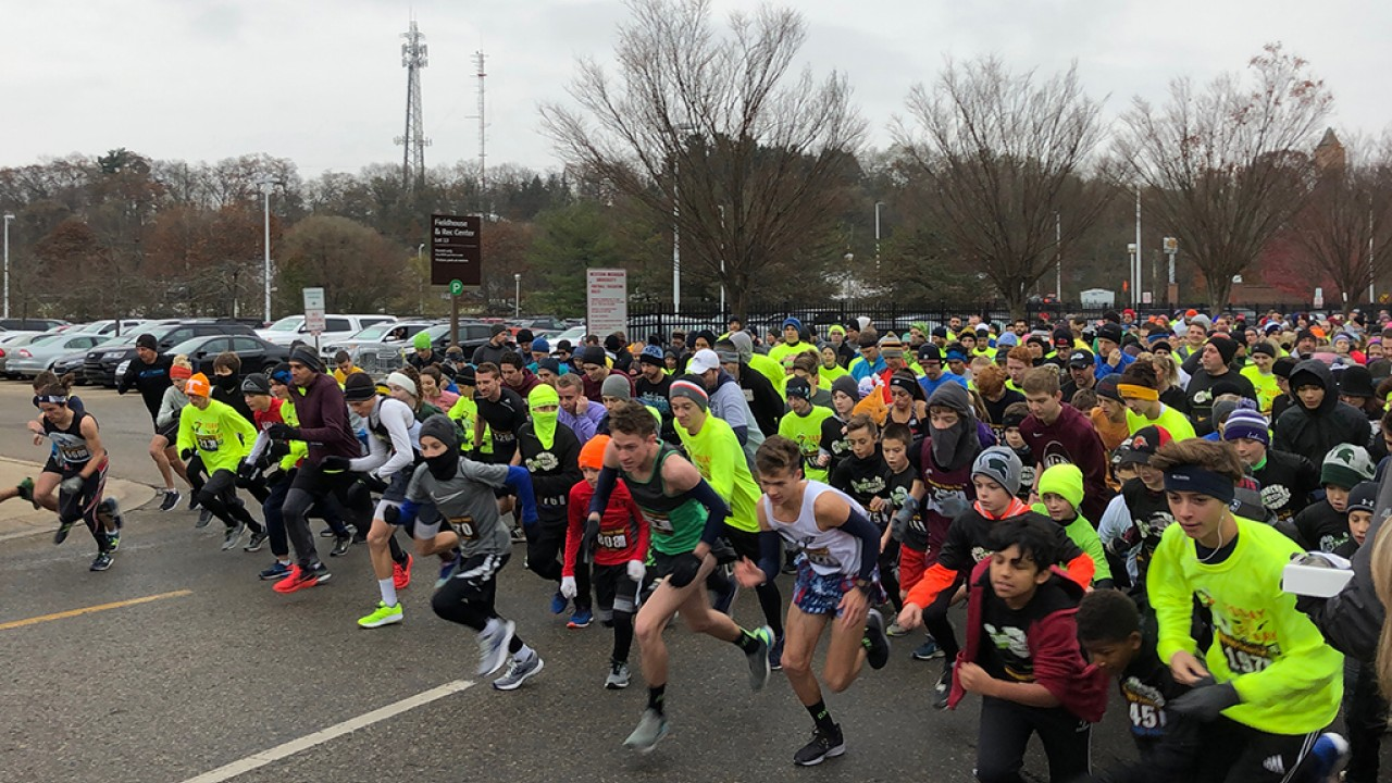 Official start of the 2018 Turkey Trot 5K with the runners taking off immediately in photo