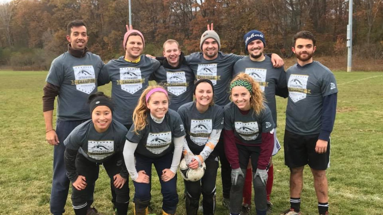 Mixed group of Intramural sports outdoor soccer team