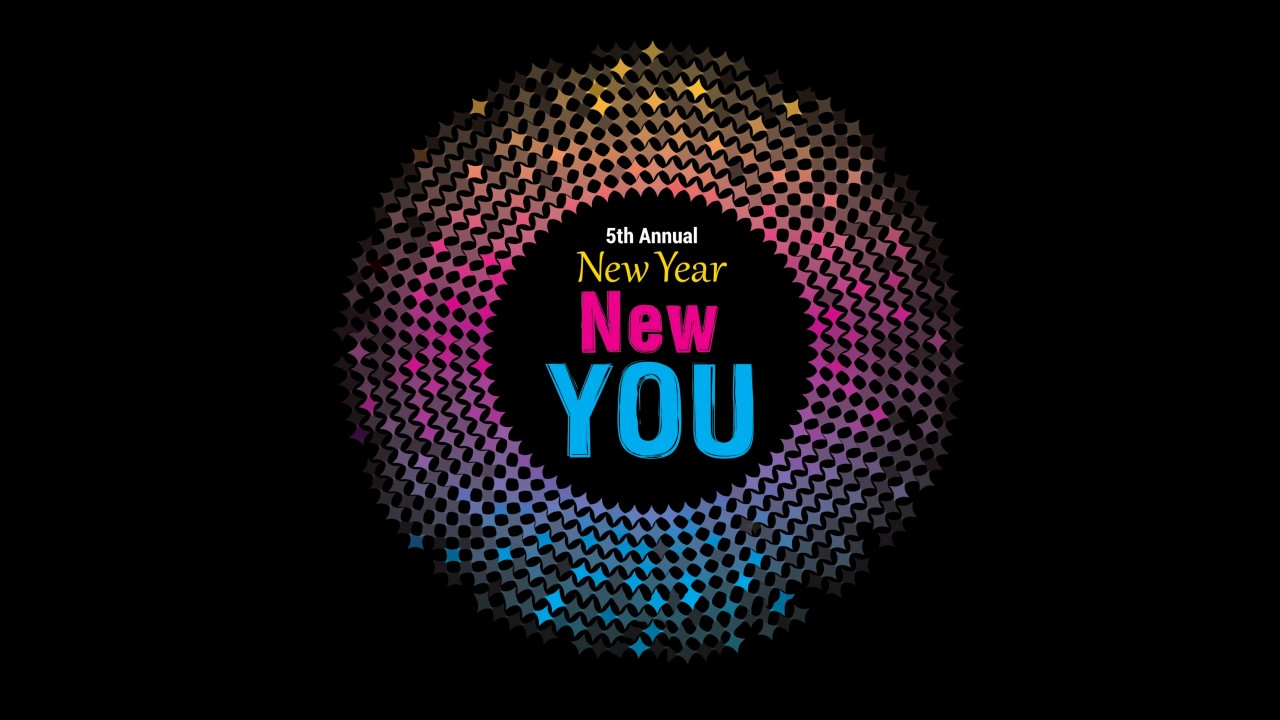 A ball of light radiating with colors from yellow, bright pink to blue with the words, 5th Annual New Year, New You in the center