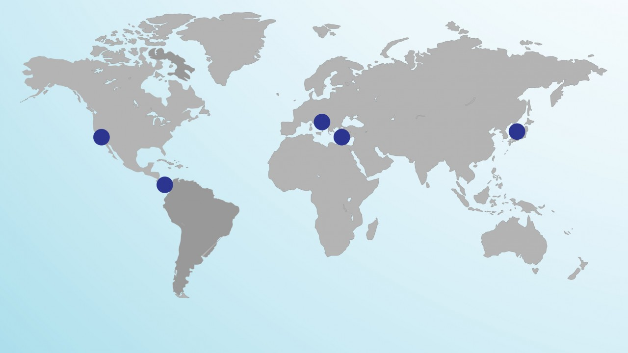 Map of world with cities marked in blue dots that are Blue Zones: California, Costa Rica, Greece, Italy and Japan