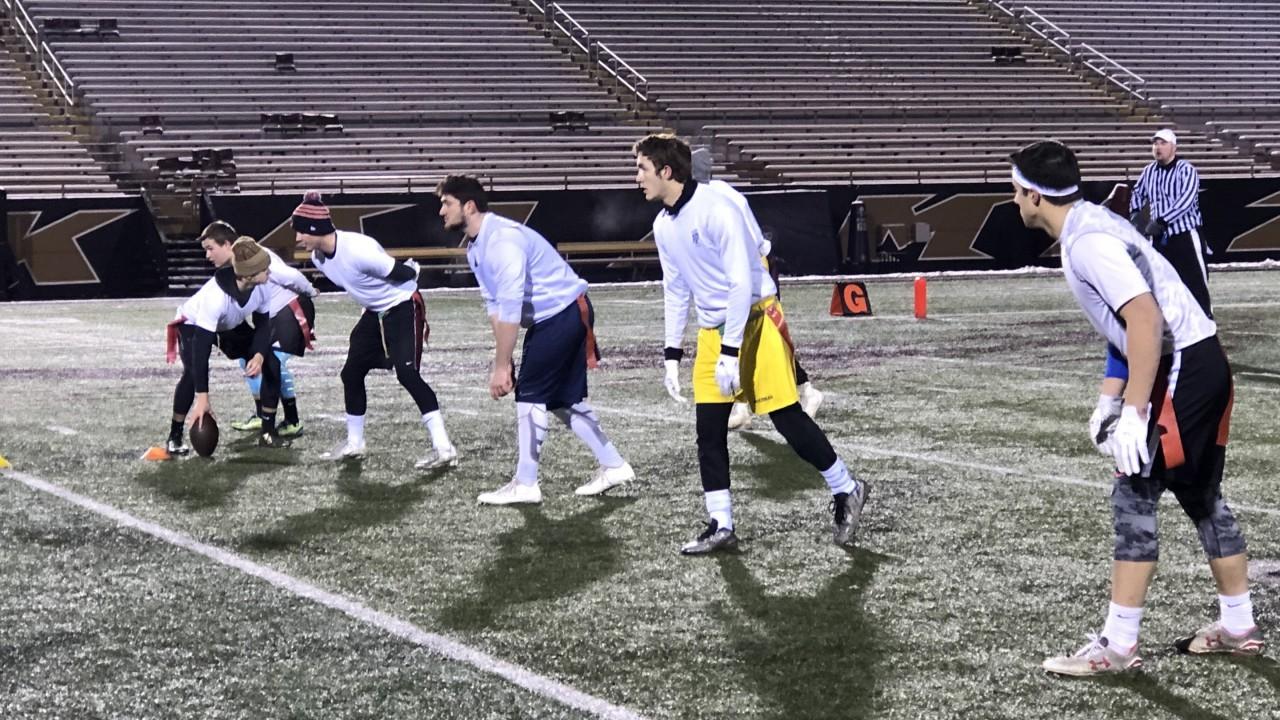 Flag Football team playing in Waldo Stadium