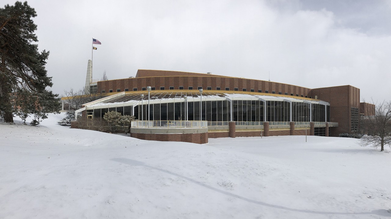 Winter image of the whole SRC building on a snowy day