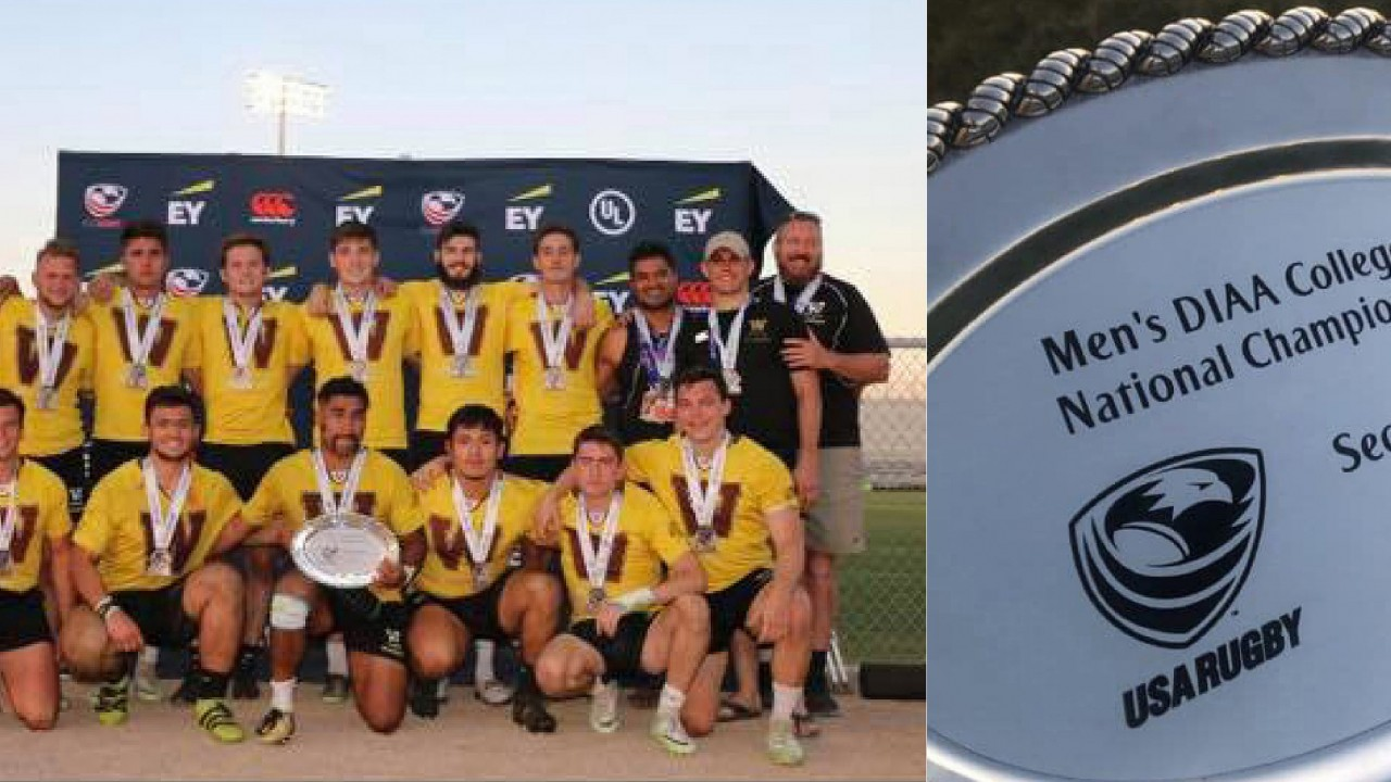 Team photo of Men's Rugby team with winning 2nd place at nationals with medals around their necks. A side photo to right of the engraved award on a silver platter. Men's DIAA College 7s National Championshp.