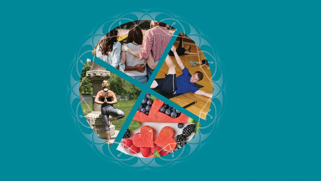 A wheel of four images: a male doing a sit up, a female with her back to viewer doing a tree yoga pose, three women of color with their arms around each other in support, watermelon cut into hearts, blueberries, raspberries and black berries, with an ornate pattern around wheel with a teal background