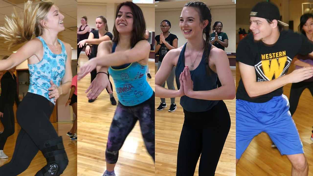 The SRC's four Zumba instructors; all of them teaching a class and dancing, and all four of them with their photos lined up in a row