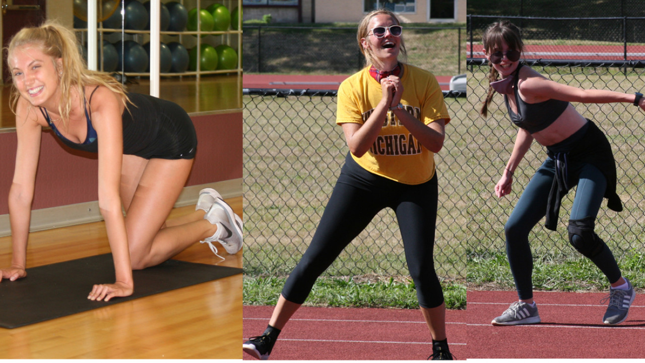 Brie floor exercise, Lindsey outside doing a squat, Maddy teaching Zumba