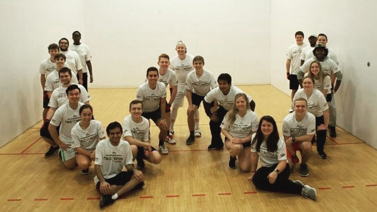 Racquetball club a mixed group of people in the shape of a W letter in the alphabet.