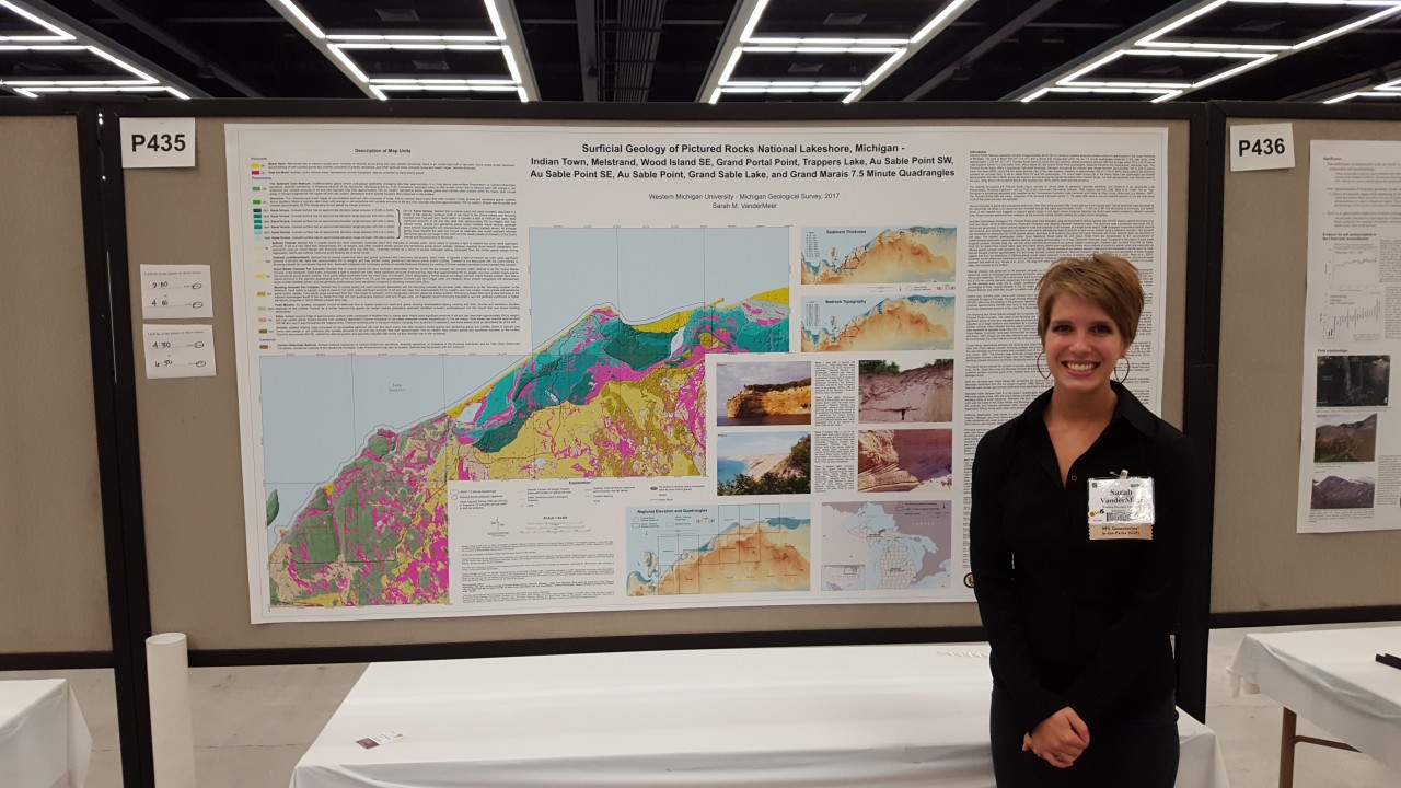 Sarah VanderMeer and her map that won GSA's Best Student Geologic Map