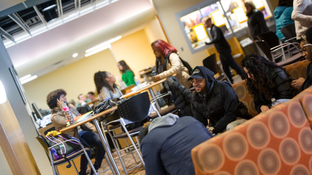 Students in Bernhard Center lounge