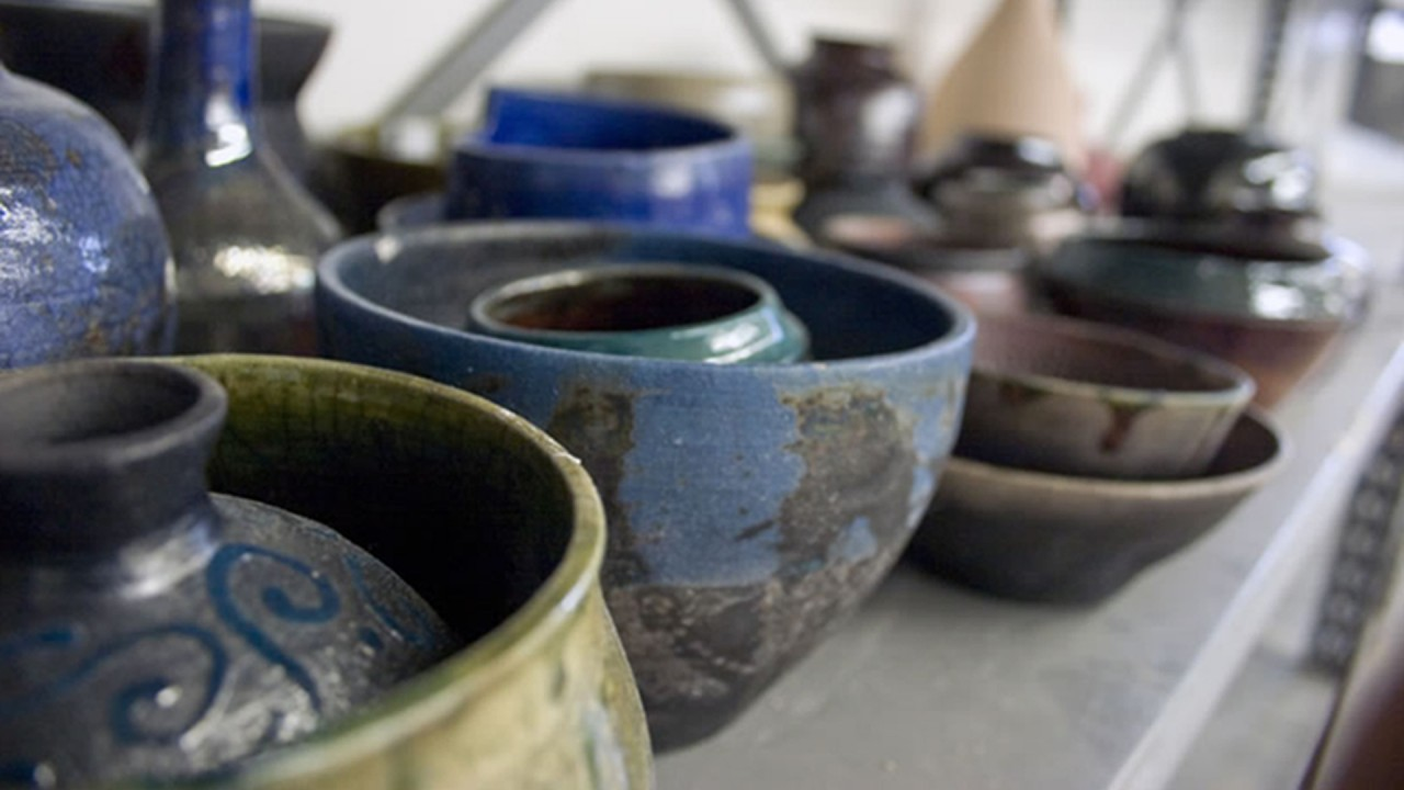 ceramic bowls on a table