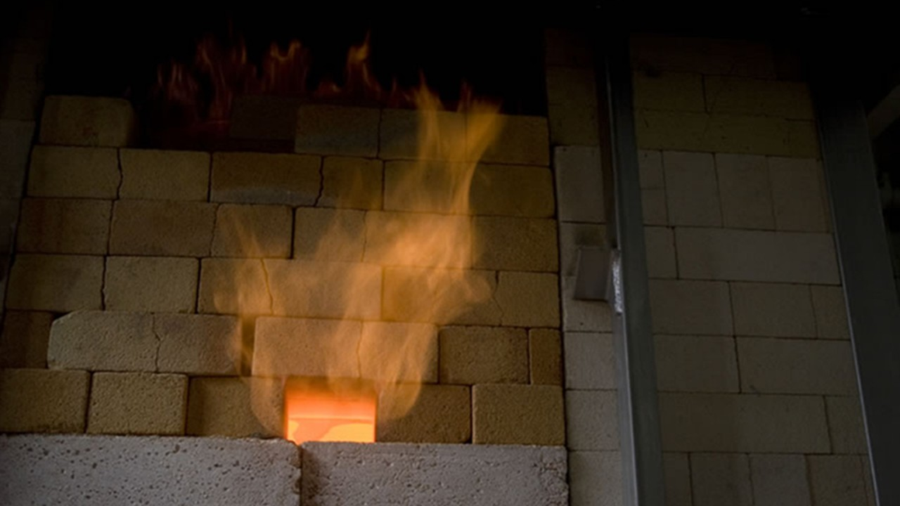 fire blooming from a kiln