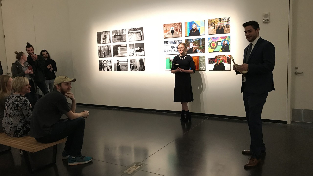 Students speaking about their exhibition
