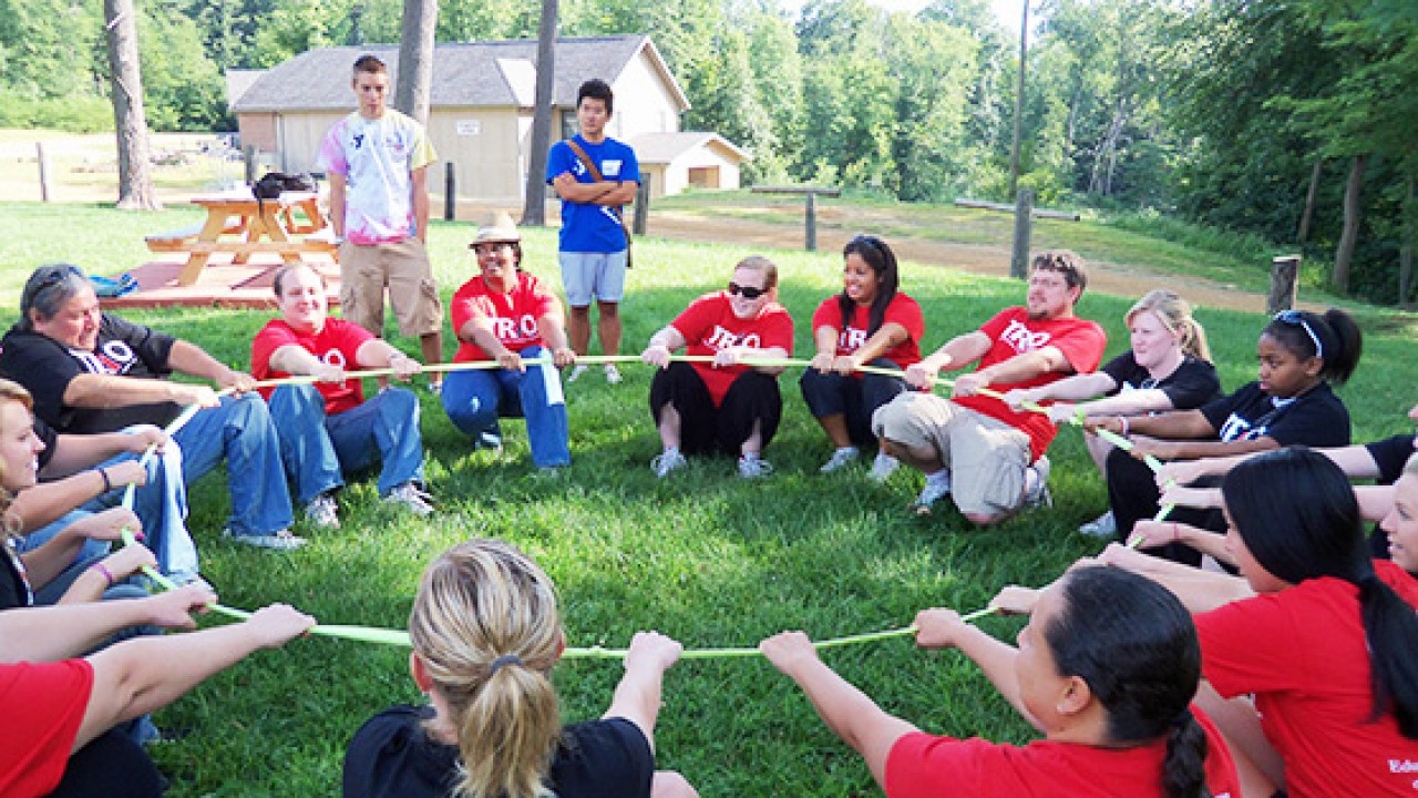 Team building at Camp Eberhart.