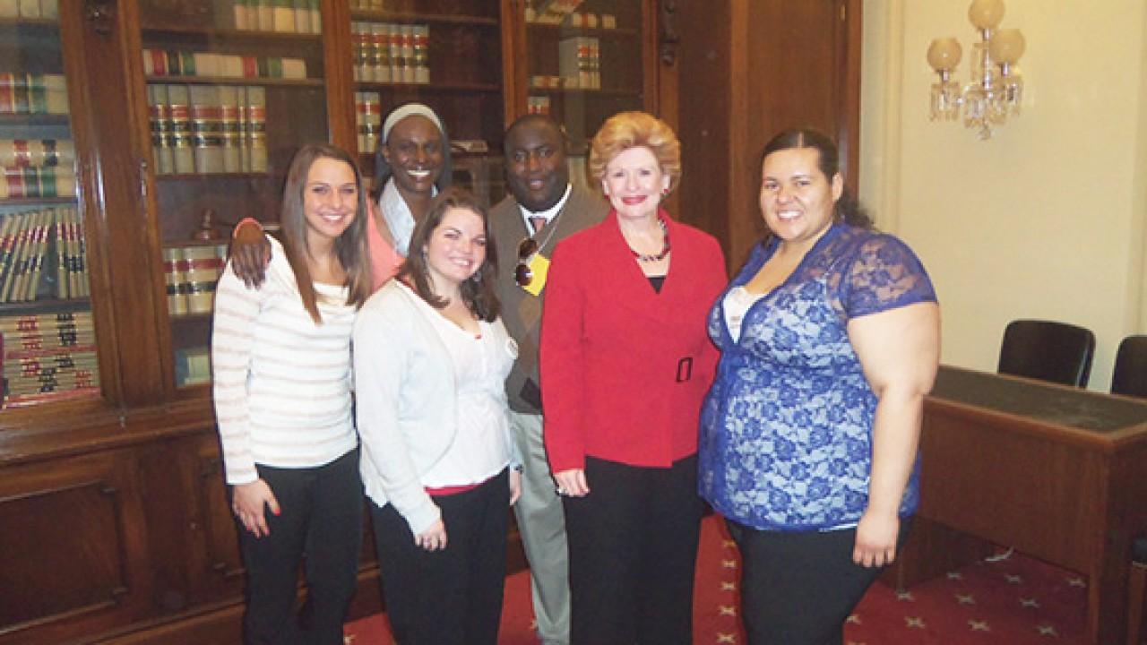 Senator Debbie Stabenow with WMU students.