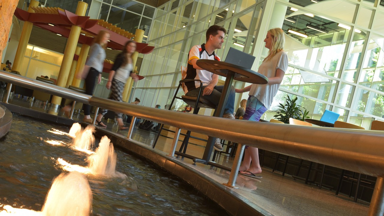 Students in the atrium