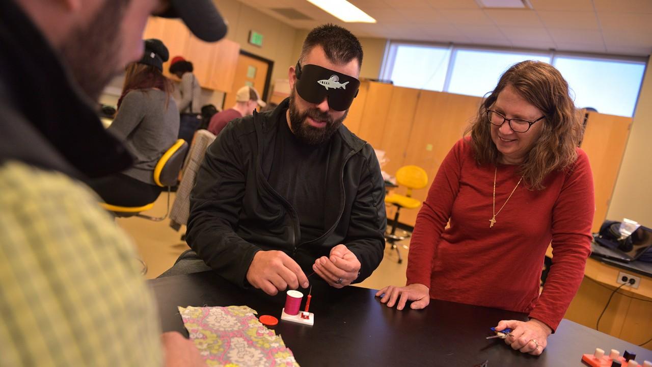 blindfolded students