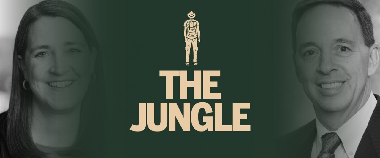 Patti Poppe, the jungle logo and Todd Sanford over green background