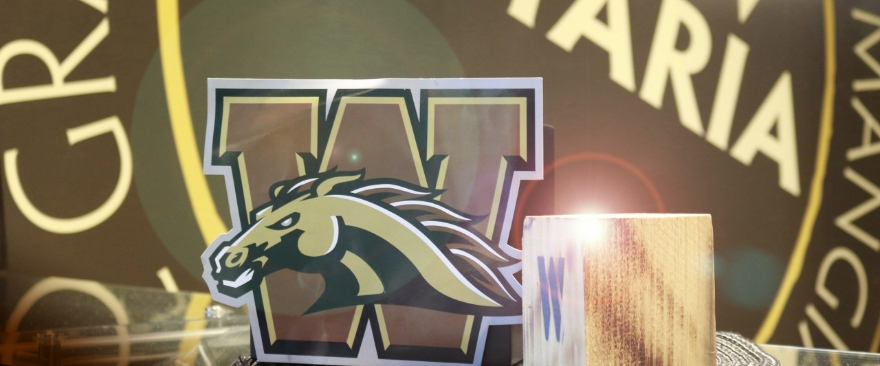 Photo of WMU Bronco Logo and wooden W block at Pastaria in Valley Dining Center