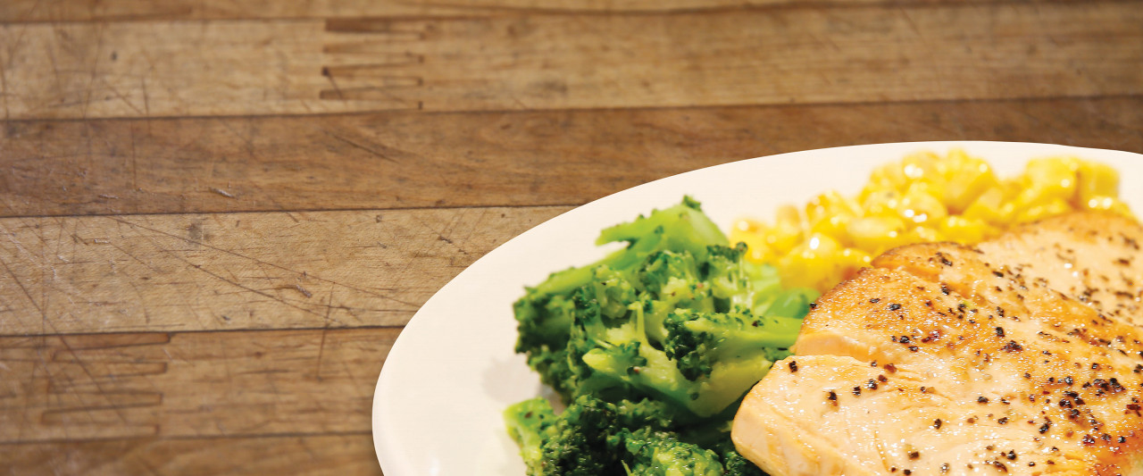 Salmon, broccoli and corn simple meal photo